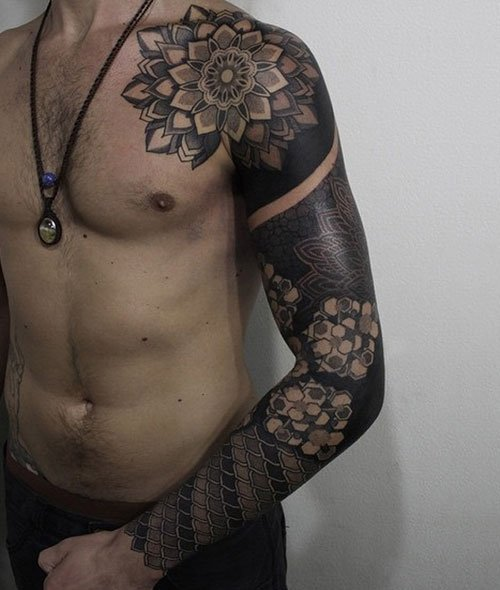 Mandala Flower Full Sleeve Tattoo Designs For Guys