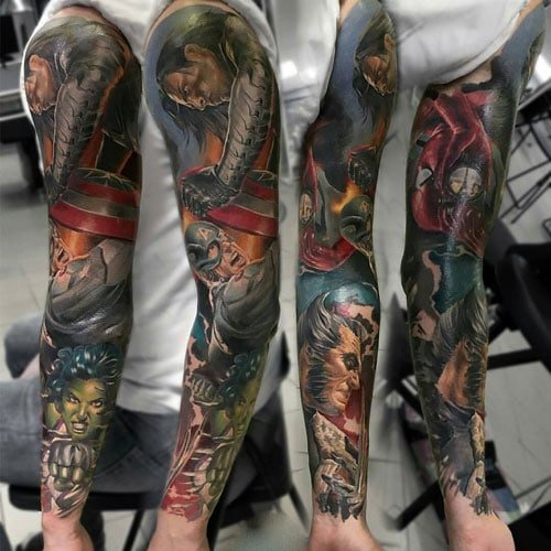 Marvel Superhero Sleeve Tattoo