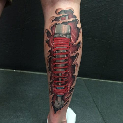 Mechanical Calf Tattoo