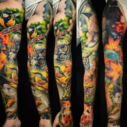 Nature Owl Wolf Full Sleeve Tattoo