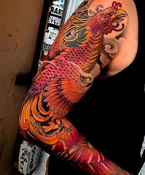 Phoenix Full Sleeve Tattoo Designs