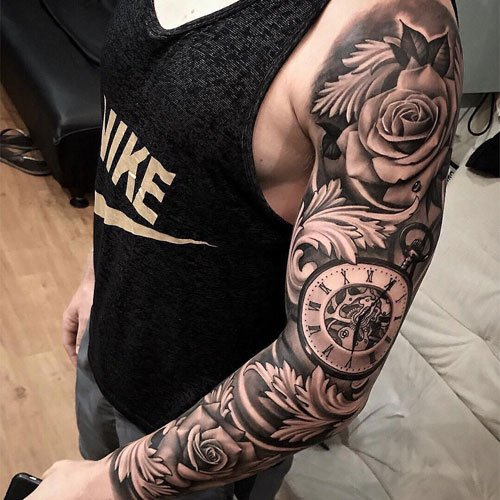 Rose Clock Full Sleeve Tattoo
