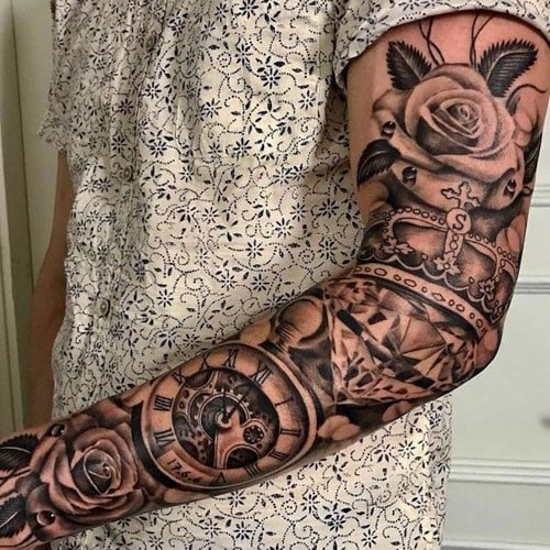 Rose Crown Pocket Watch Sleeve Tattoo For Men