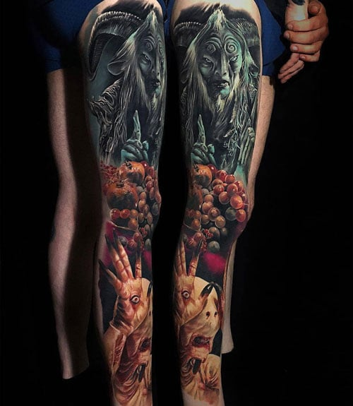 Scary Thigh Calf Leg Tattoo
