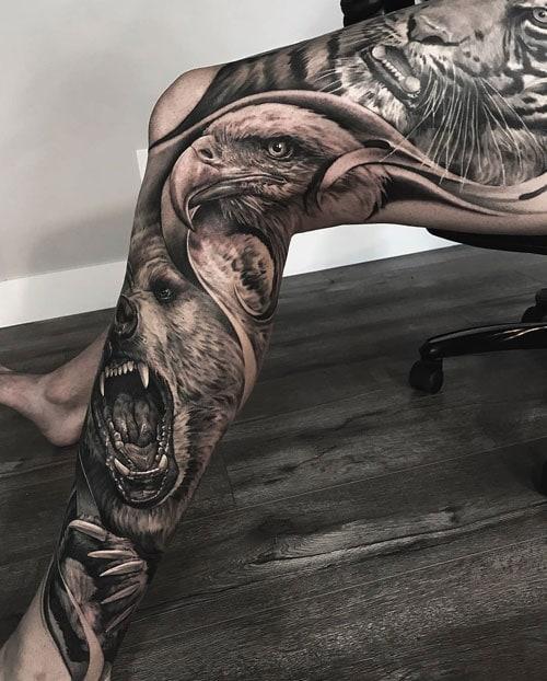 Tiger Eagle Bear Leg Tattoo Designs
