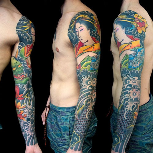 Traditional Asian Full Sleeve Tattoo Design
