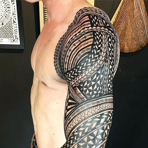 Tribal Whole Arm Sleeve Tattoo