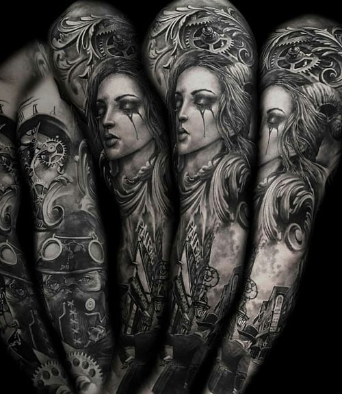 Woman Portrait Sleeve Tattoo