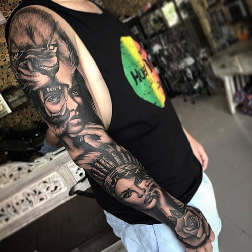 Woman on Arm Sleeve Tattoo