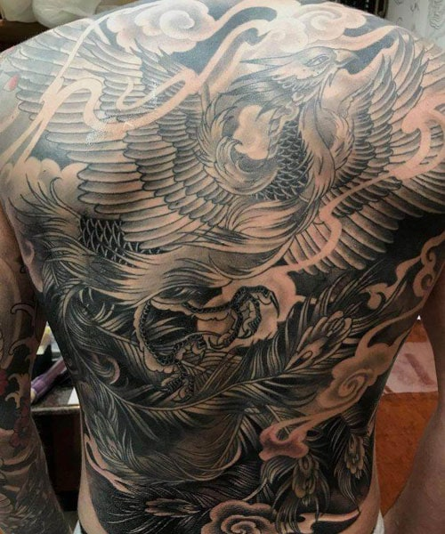 Badass Black and Grey Full Back Phoenix Tattoo