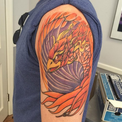 Badass Phoenix Shoulder Arm Tattoo