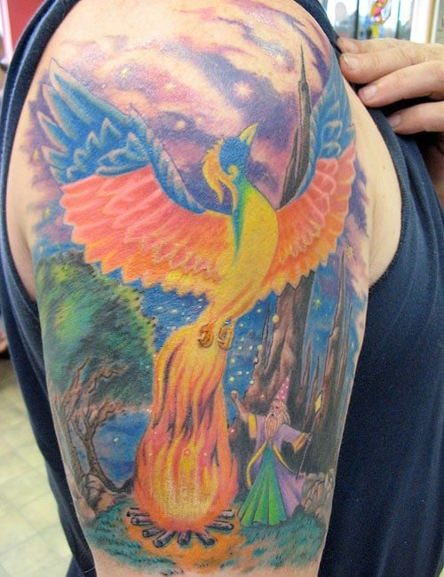 Beautiful Colorful Shoulder Phoenix Tattoo