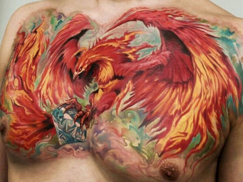 Best Phoenix Chest Tattoo For Guys