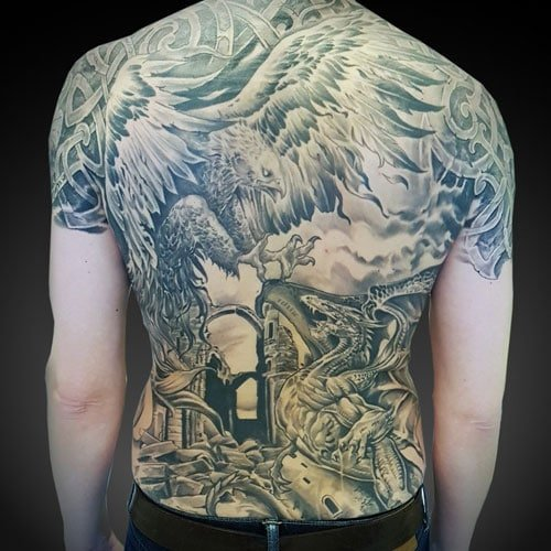 Black and Grey Dragon and Phoenix Tattoo on Back