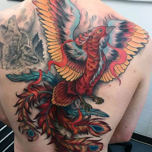 Color Phoenix Back Tattoo Designs