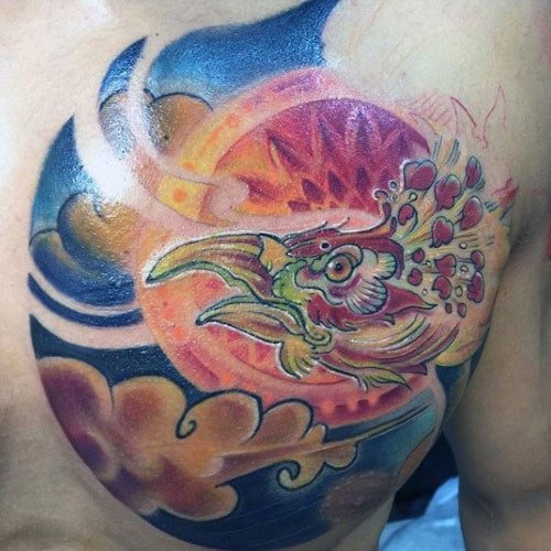Cool Colorful Phoenix Chest Tattoo Design