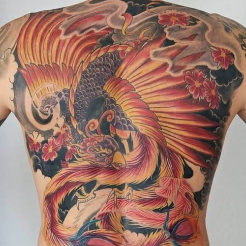 Cool Phoenix Back Tattoo