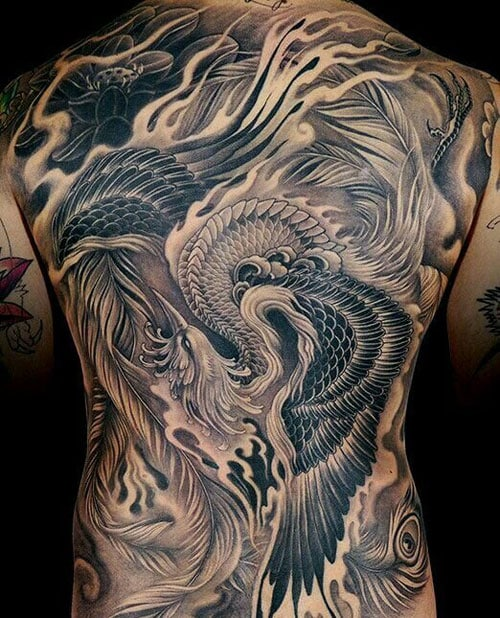 Cool Phoenix Bird Back Tattoo