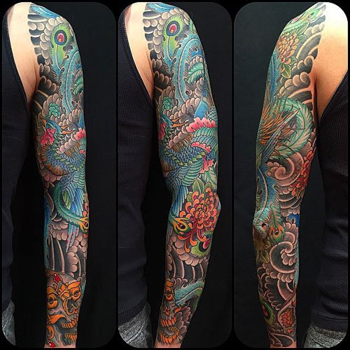 Phoenix Arm Sleeve Tattoo