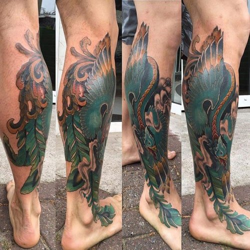 Phoenix Leg Tattoo Designs