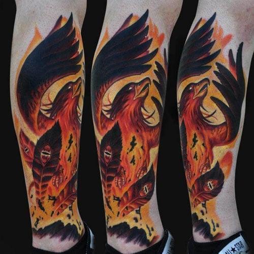 Phoenix Leg Tattoo