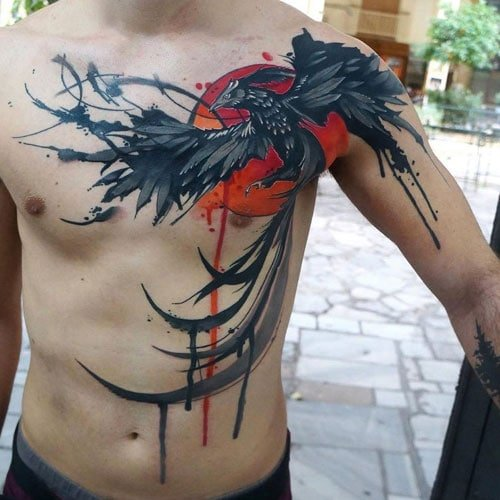 Sun Phoenix Tattoo on Chest and Arm
