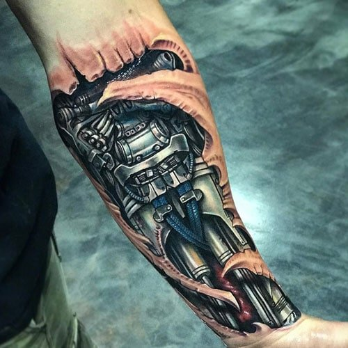 3D Biomechanical Arm Tattoo Designs