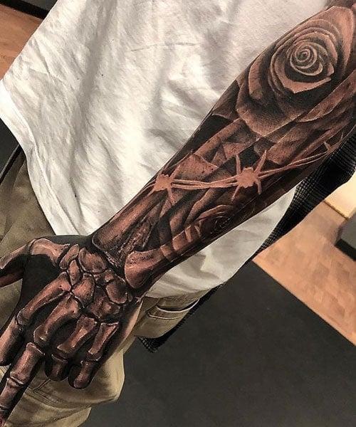 3D Skeleton Hand Arm Tattoo