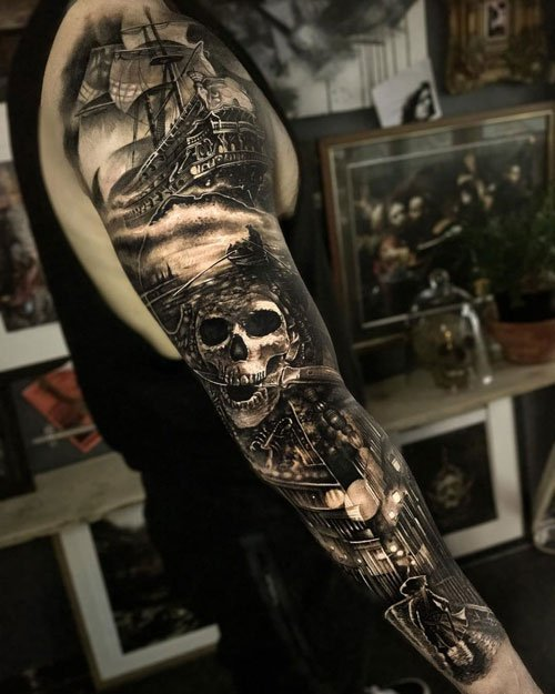 Amazing Skull Pirate Full Arm Tattoos