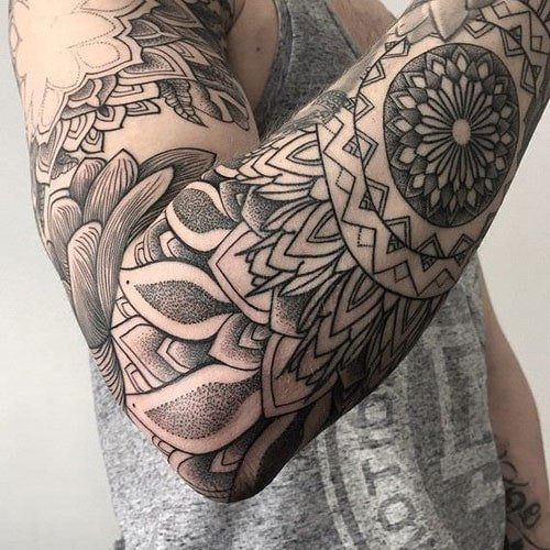 Awesome Black and White Full Arm Tattoos For Men