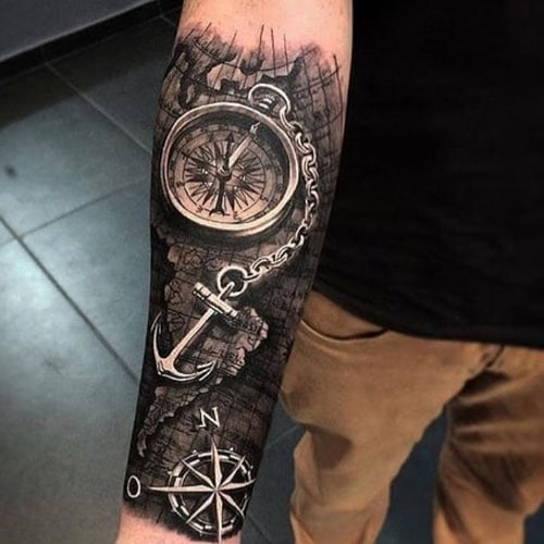 Awesome Compass Anchor Map Lower Arm Tattoo Designs