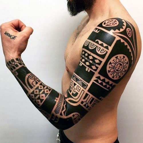 Aztec Tribal Full Arm Tattoo Ideas For Men