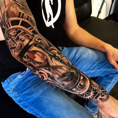 Badass Clock Gear Arm Sleeve Tattoo Designs