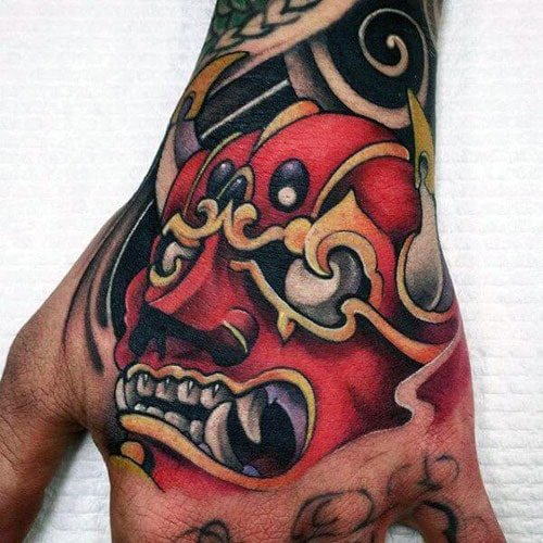 Best Japanese Demon Mask Tattoo