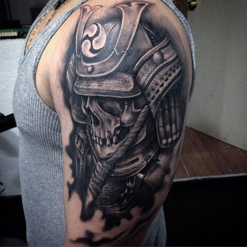 Black Ink Warrior Skull Upper Arm Tattoo