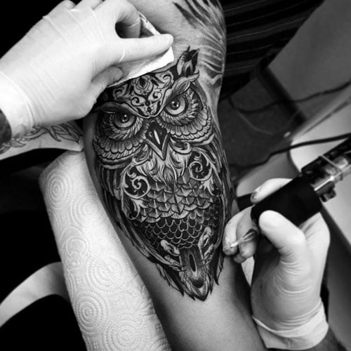 Black and Grey Owl Arm Tattoo