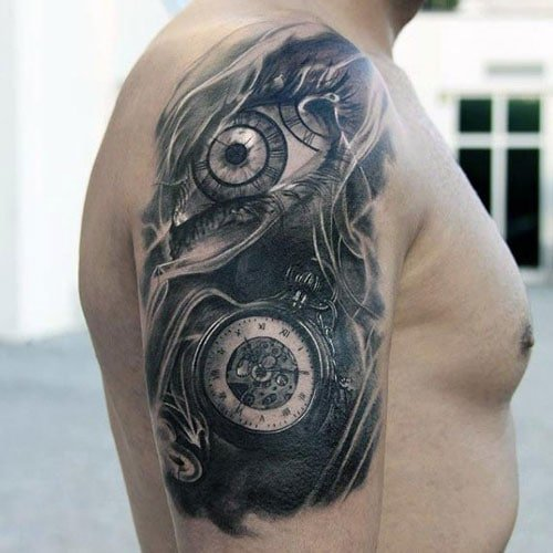 Black and Grey Upper Arm Shoulder Tattoo Designs