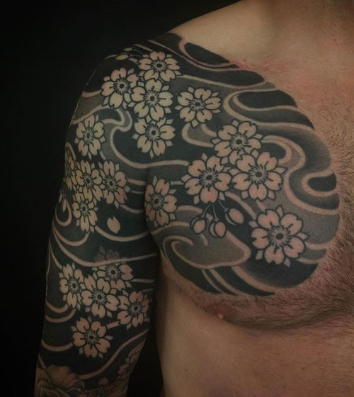 Black and White Japanese Chest Flower Tattoo