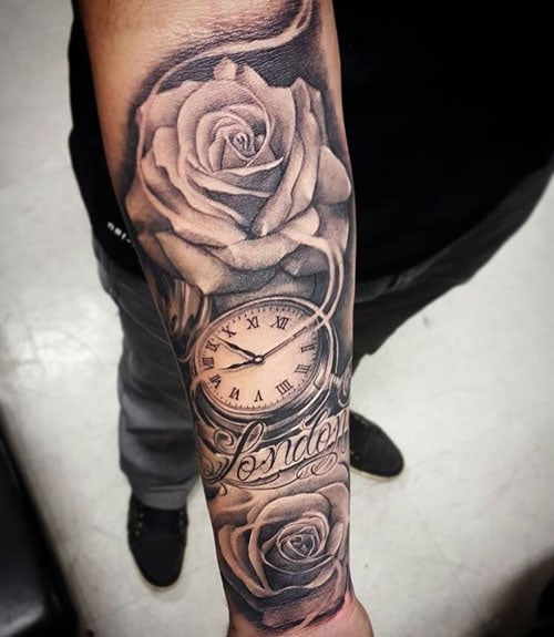 Clock Rose Front Arm Tattoo Designs For Men