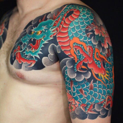 Colorful Modern Japanese Dragon Tattoo For Guys