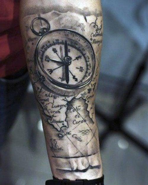 Compass Forearm Tattoo Ideas For Men
