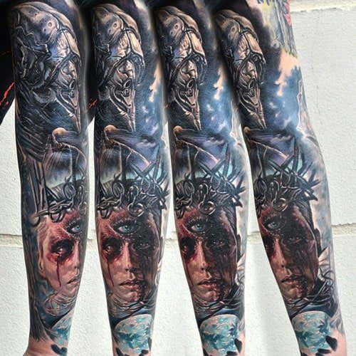 Cool 3D Colorful Arm Tattoo Designs