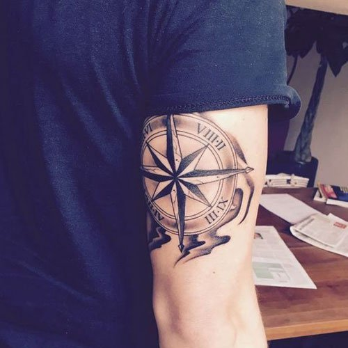 Cool Compass Back of the Arm Tattoo