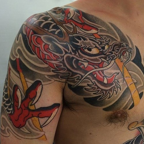Cool Japanese Dragon Chest Tattoo
