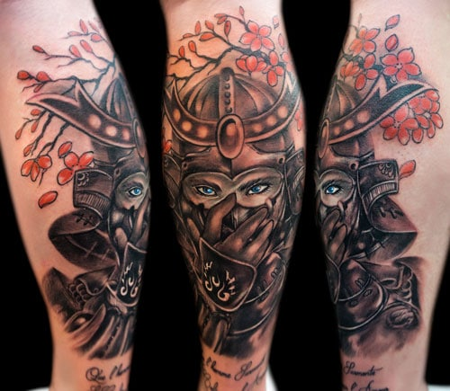 Cool Japanese Samurai Warrior Tattoo on Calf