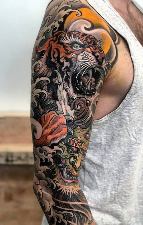 Cool Japanese Tiger Sleeve Tattoo