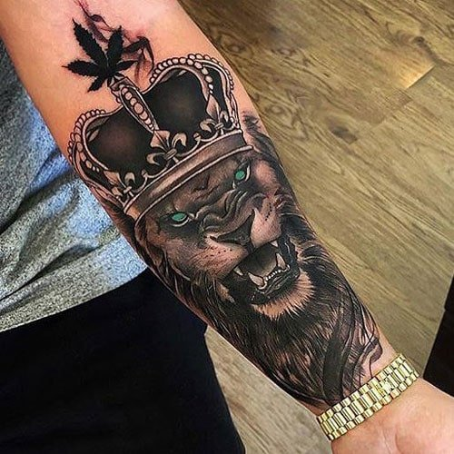 Cool Lion King with Crown Arm Tattoo