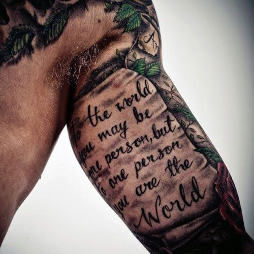 Cool Quote Inner Arm Tattoo Men