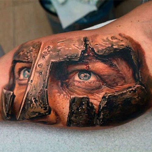 Cool Spartan Warrior Inner Arm Tattoo