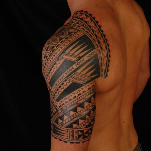 Cool Tribal Half Sleeve Upper Arm Tattoo